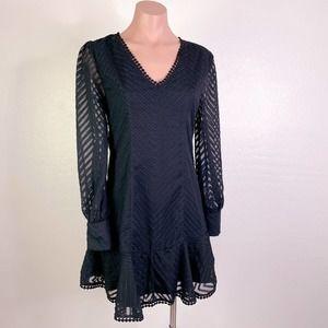FAVLUX Chevron Textured Ruffle Hem V-Neck Mini Dress Black size Small NWOT